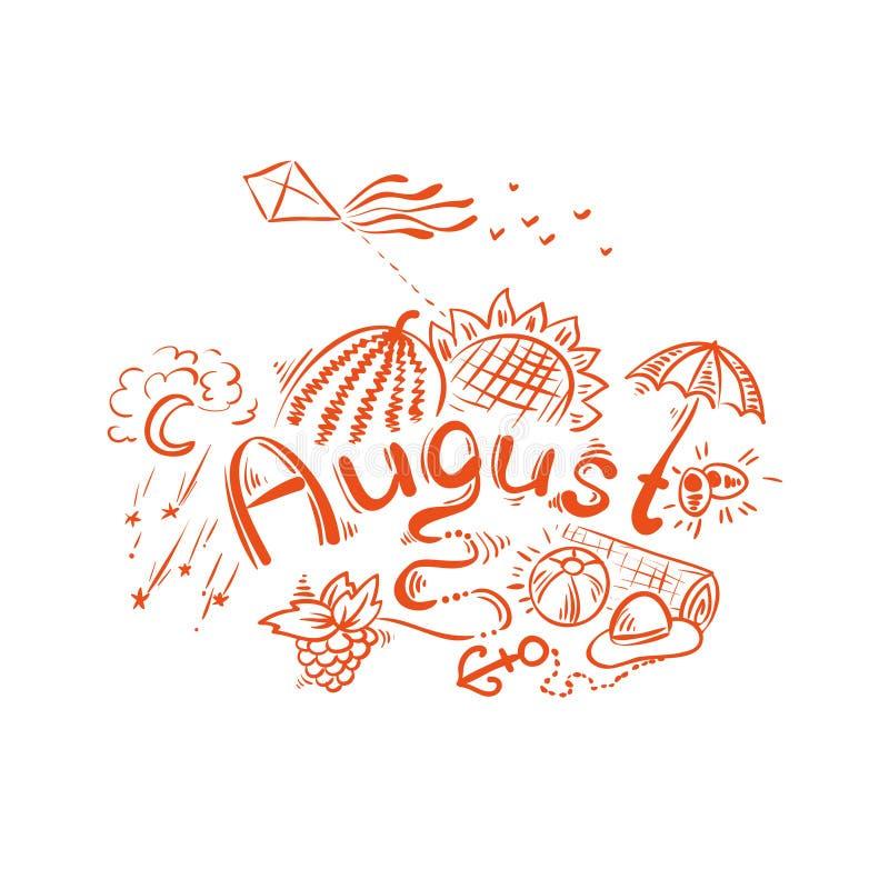 August - summer handwritten lettering stock illustration