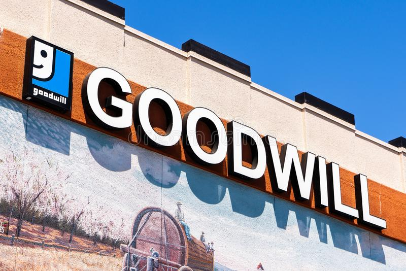 August 17, 2019 Sunnyvale / CA / USA - Close up of Goodwill sign at their store in downtown Sunnyvale, Silicon Valley stock photos