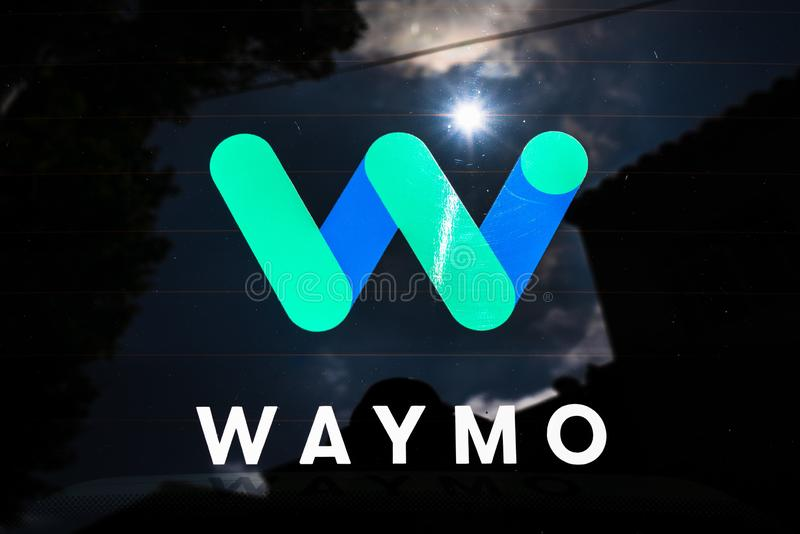 August 29, 2019 Sunnyvale / CA / USA - Close up of Waymo logo on the rear glass on one of their self driving cars, in testing at stock image