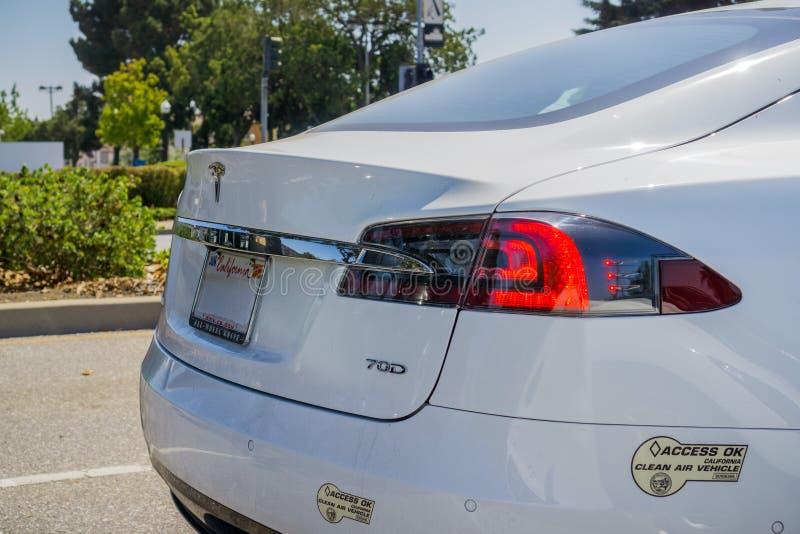August 30, 2017 Sunnyvale/CA/USA - Tesla Model S 70D rear light detail. Carpool lane Access OK clean air vehicle California decal royalty free stock photos