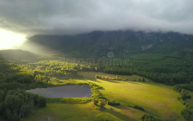 August Sunrise dorato fotografia stock