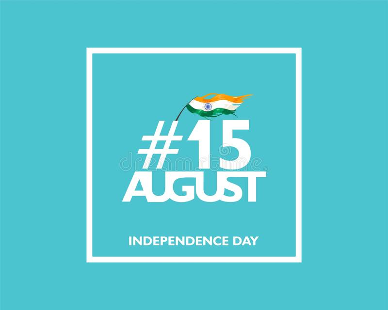 15 August text symbol, logo and icon for India independence day. with indian flag fluttering. For Poster, flyer, banner background stock illustration