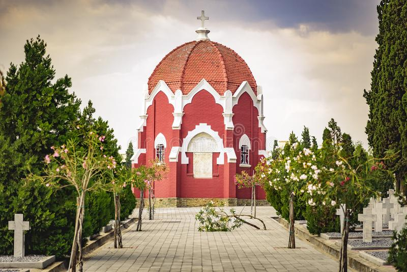 French chapel and graveyards in military cemetery in Thessaloniki stock photos