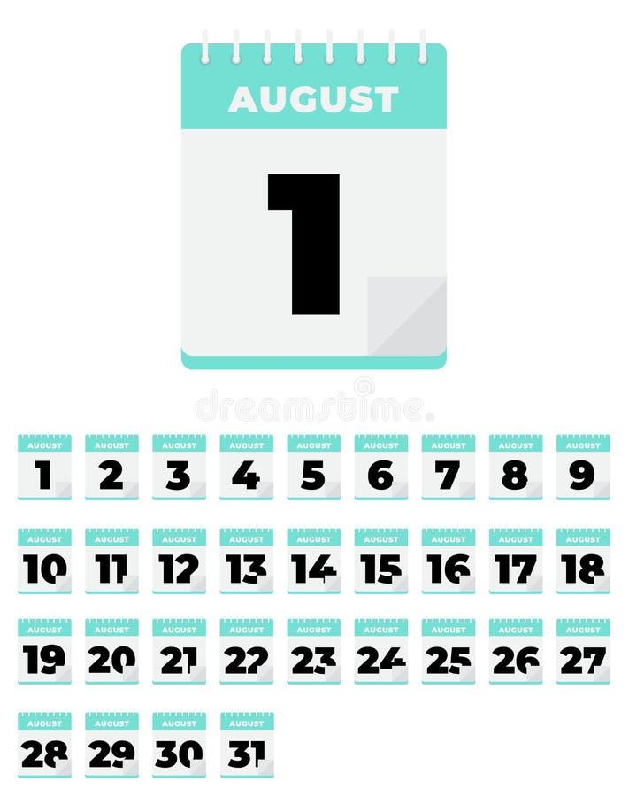 August. Vector flat daily calendar set. Icon vector illustration