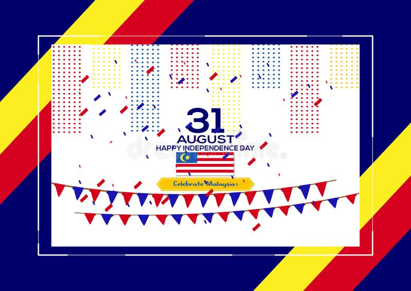 31 August - Vector illustration Malaysia Independence Day Patriotic Design. Happy Independence Day Vector Greeting Card. stock illustration