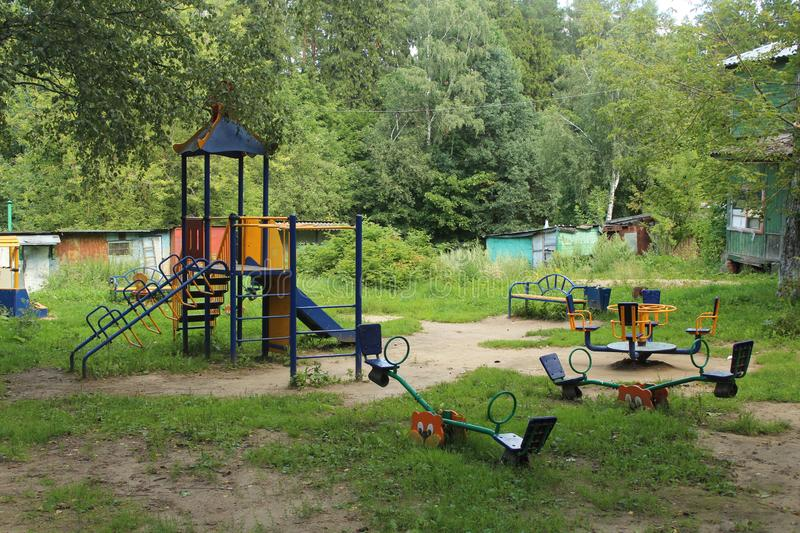 Russia. Moscow region. The city of Korolev. District Bolshevo. Civil street playground. August 2019, a walk in the historical part of the Bolshevo district, a stock image