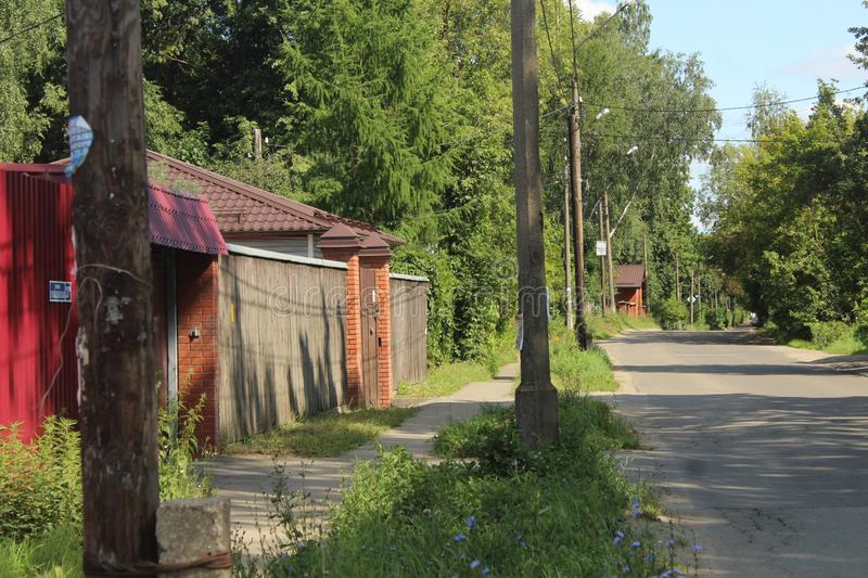 Russia. Moscow region. The city of Korolev. District Bolshevo. Civil street. August 2019, a walk in the historical part of the Bolshevo district, a mixture of stock photos