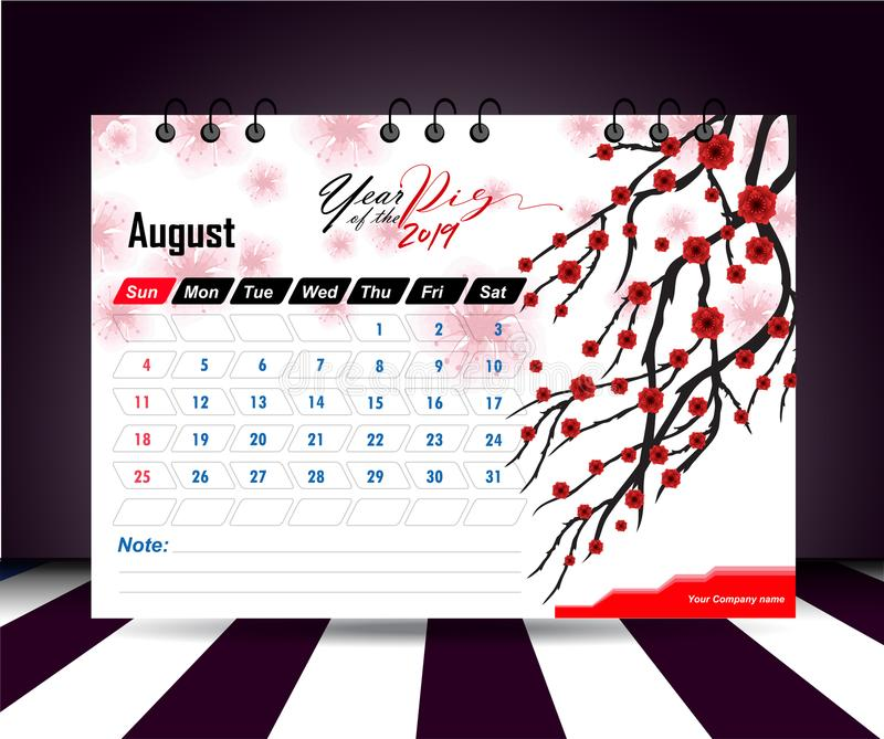 AUGUST 2019. Wall calendar planner template. Vector design print template with place for photo. Week starts on Sunday. Wall calendar 2019 planner template royalty free illustration