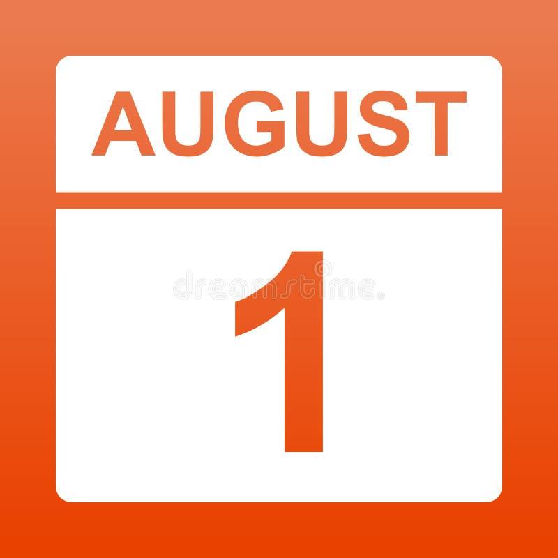 1. August Wei?er Kalender auf einem farbigen Hintergrund Tag auf dem Kalender Zuerst vom herrlichen roten Hintergrund mit Steigun vektor abbildung