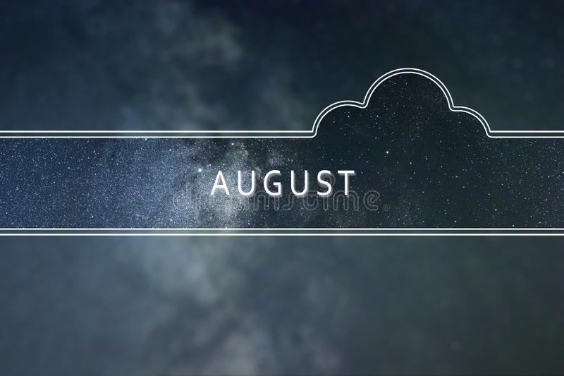 AUGUST word cloud Concept. Space background. stock photography