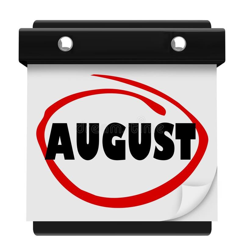August Word Wall Calendar Change månadschema vektor illustrationer