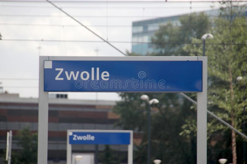 Name sign of train station Zwolle stock photography