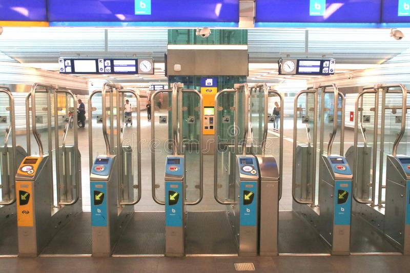 Payment gates of NS and Keolis Blauwnet at station of Zwolle stock photo