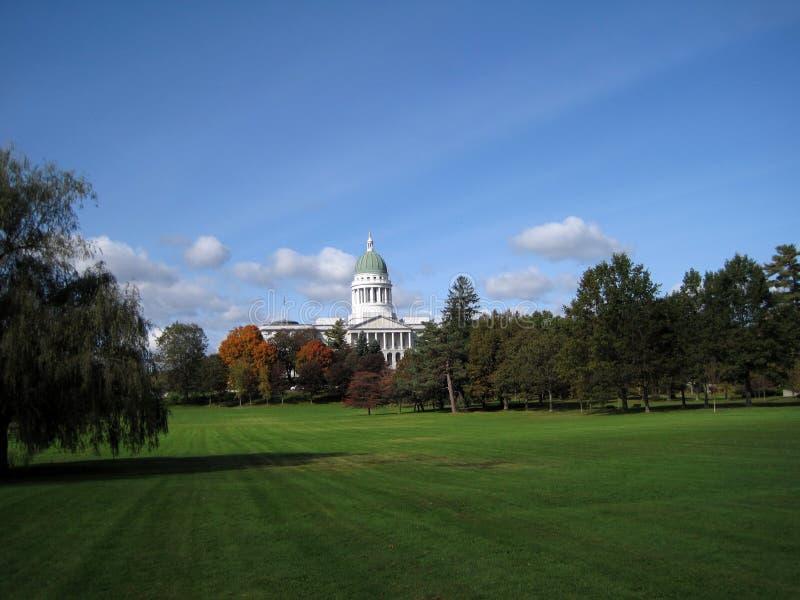 Augusta Maine Capitol Building in autunno fotografia stock