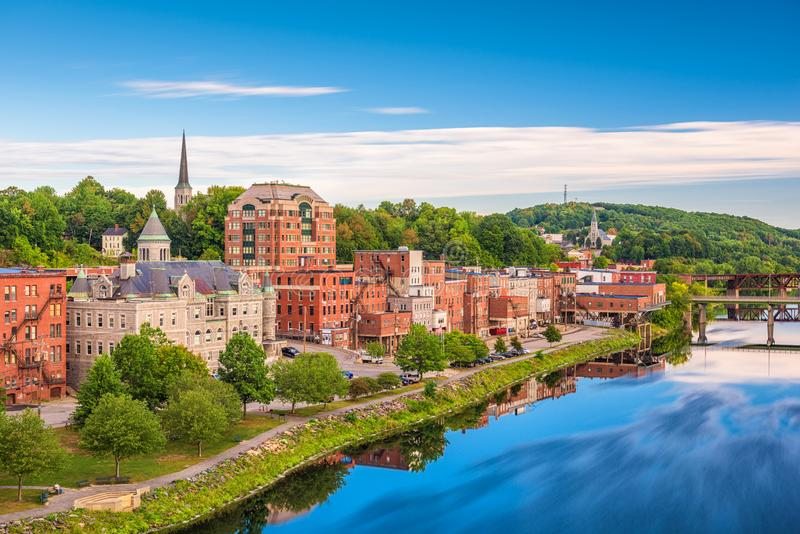 Augusta, Maine, orizzonte di U.S.A. immagine stock libera da diritti