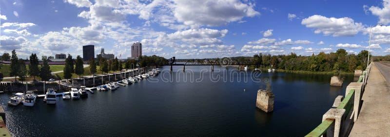 Augusta, panoramische Georgia Waterfront stock foto's
