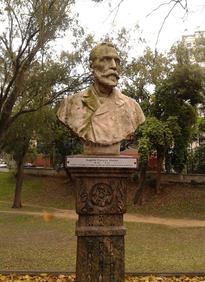 Auguste Francois Glaziou Statue in Quinta da Boa Vista Rio de Janeiro Brazil. royalty free stock photography
