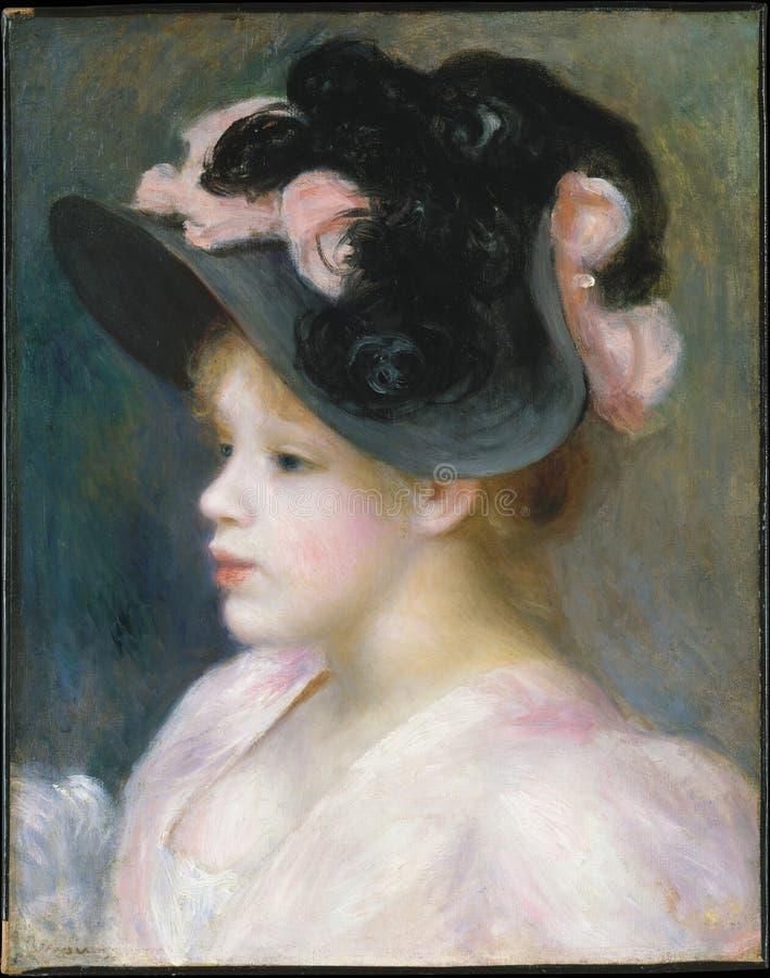 Auguste Renoir - маленькая девочка в Розов-и-черной шляпе стоковое изображение rf