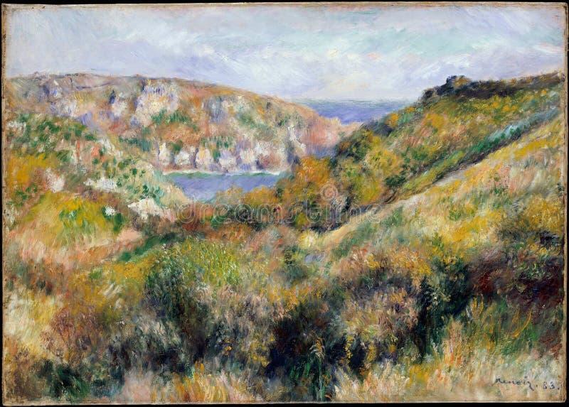 Auguste Renoir - colline intorno alla baia di Moulin Huet, Guernsey fotografia stock libera da diritti