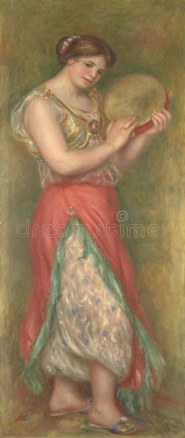 Auguste Renoir - dansend Meisje met Tamboerijn van Paar Dansende Meisjes met Muzikale Instrumenten stock foto's