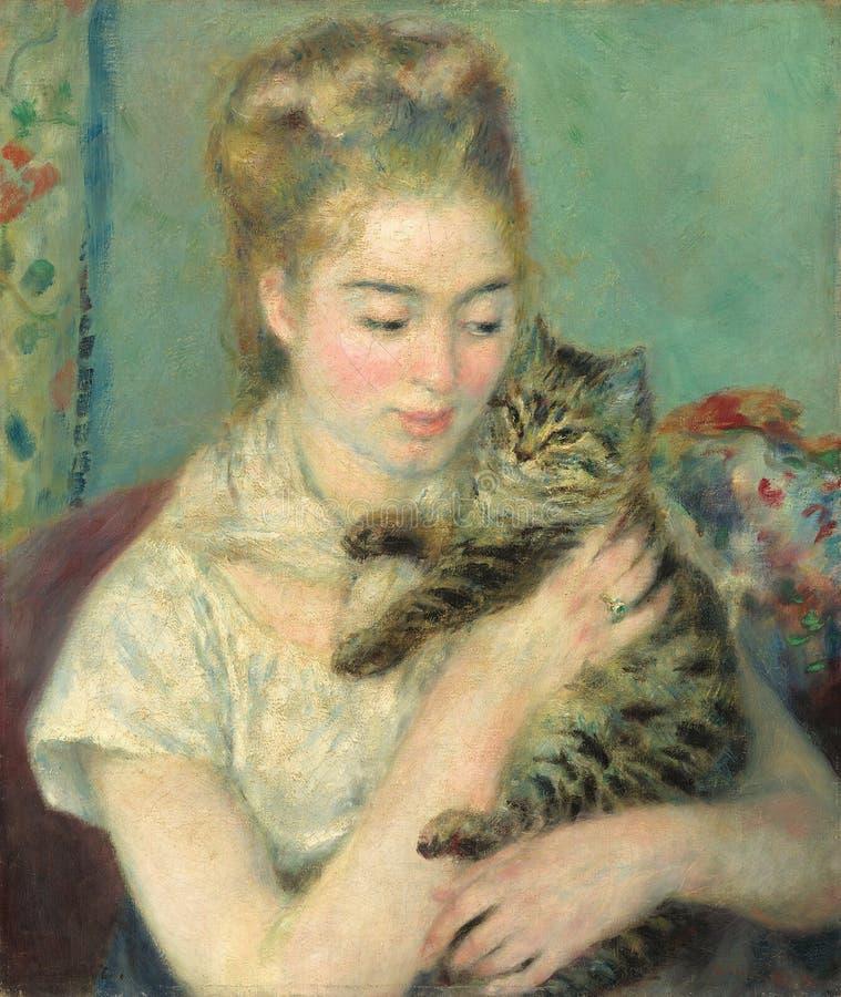 Auguste Renoir - donna con un gatto fotografie stock libere da diritti