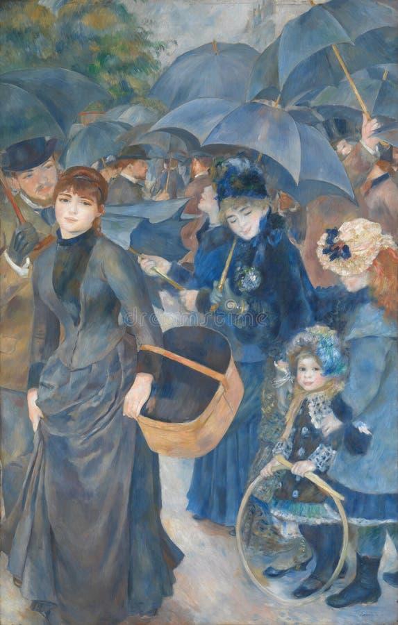 Auguste Renoir - gli ombrelli fotografia stock