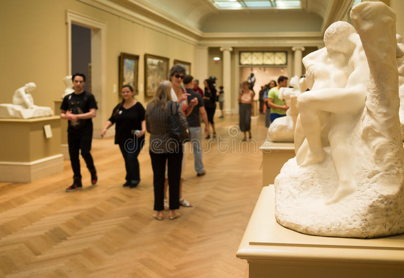 Auguste Rodin sculptures at The Met museum in New York. NEW YORK,USA- AUGUST 18,2015 : Gallery containg famous sculptures by Auguste Rodin at the Metropolitan stock image
