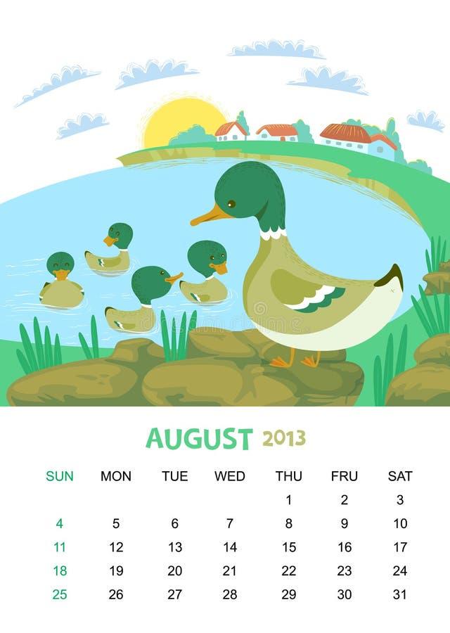 Augusti vektor illustrationer