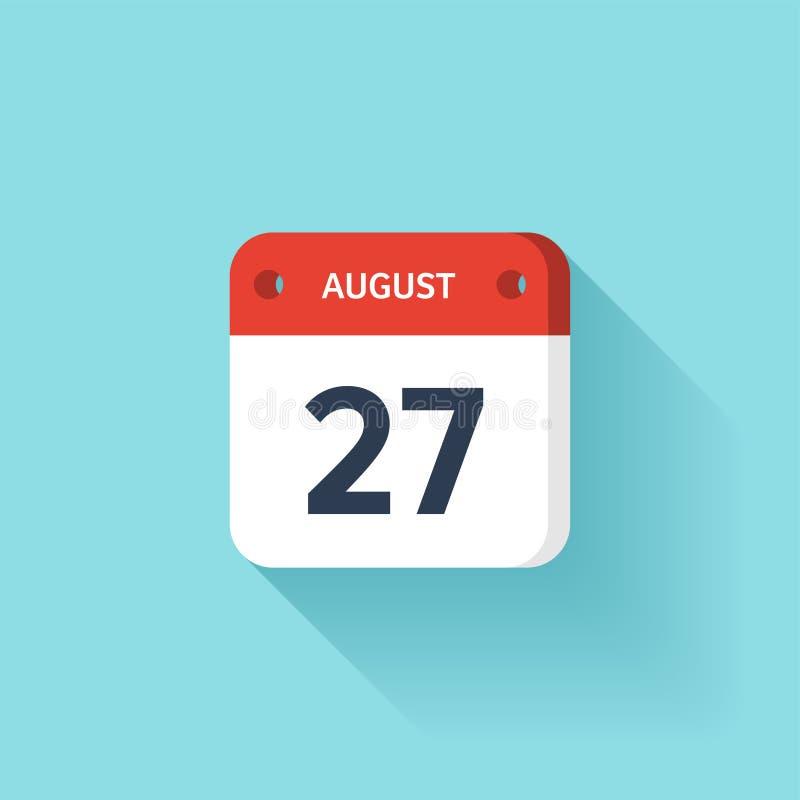 Augusti 27 Isometrisk kalendersymbol med skugga Vektorillustration, lägenhetstil Månad och datum söndag måndag, tisdag stock illustrationer