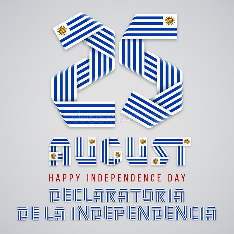 Augusti 25, lyckönsknings- design för Uruguay självständighetsdagen med uruguayanska flaggabeståndsdelar ocks? vektor f?r coreldr royaltyfri illustrationer