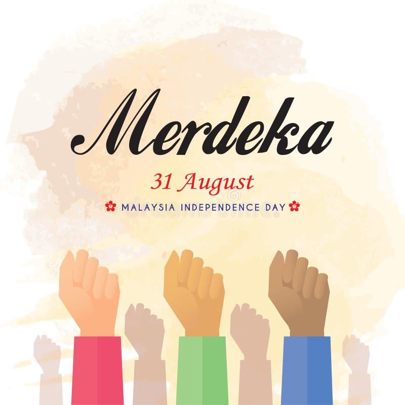31 Augusti, Malaysia självständighetsdagen, Merdeka! royaltyfri illustrationer