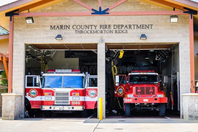 Augusti 10, 2018 maler dalen/CA/USA - Marin County Fire Department - Throckmorton Ridge Station som lokaliseras i Marin County, n arkivbilder