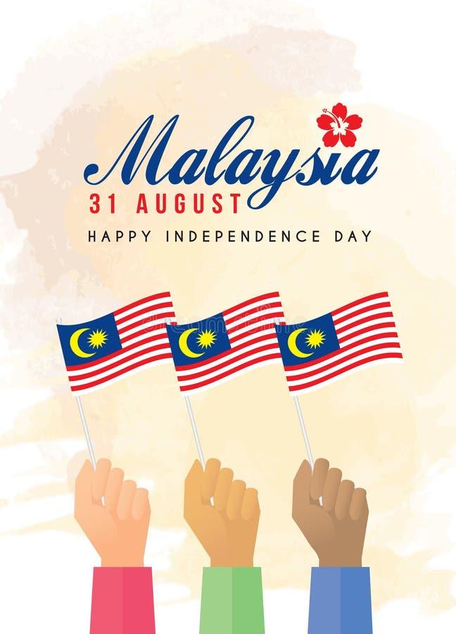 31 Augusti - medborgare som rymmer Malaysia flaggor royaltyfri illustrationer