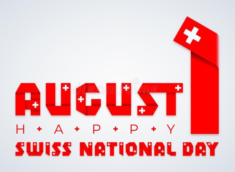 Augusti 1, schweizisk lyckönsknings- design för nationell dag med Schweiz flaggabeståndsdelar ocks? vektor f?r coreldrawillustrat stock illustrationer
