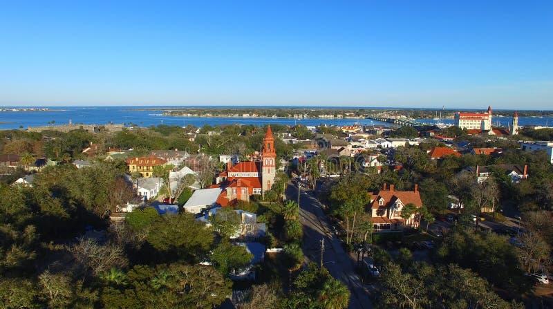 augustine佛罗里达st 美好的鸟瞰图在一个晴天 免版税库存照片