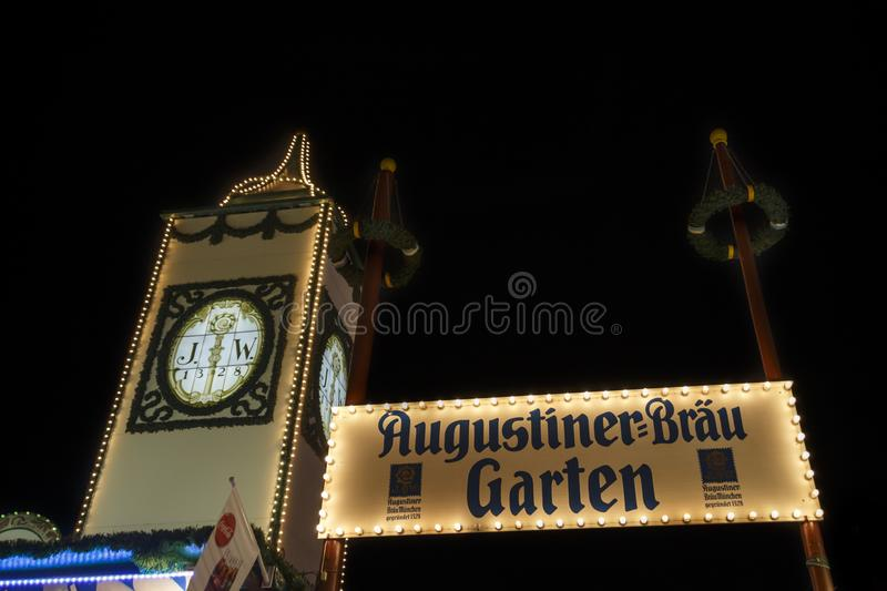 Augustiner tent at Oktoberfest in Munich, Germany, 2015. Munich, Germany - September 26, 2015: Nightshot of the Augustiner tent on Theresienwiese with the famous stock photos