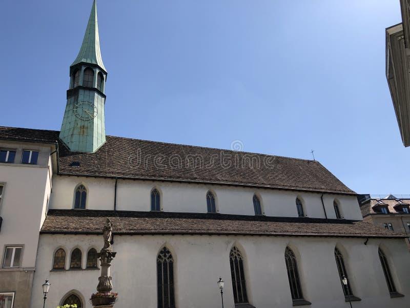 Augustinerkirche –从铸造车间的教堂在苏黎世  库存图片
