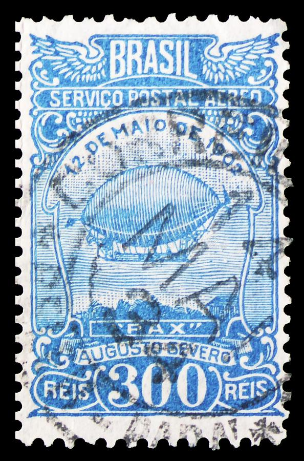 Postage stamp printed in Brazil shows Augusto Severo`s Airship `Pax`, Aviation serie, circa 1929 stock photography