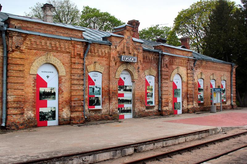 Historical building of railway station in Augustow, Poland. Augustow, Poland - May 2, 2019: Historical building of railway station in Augustow, a popular resort royalty free stock photo