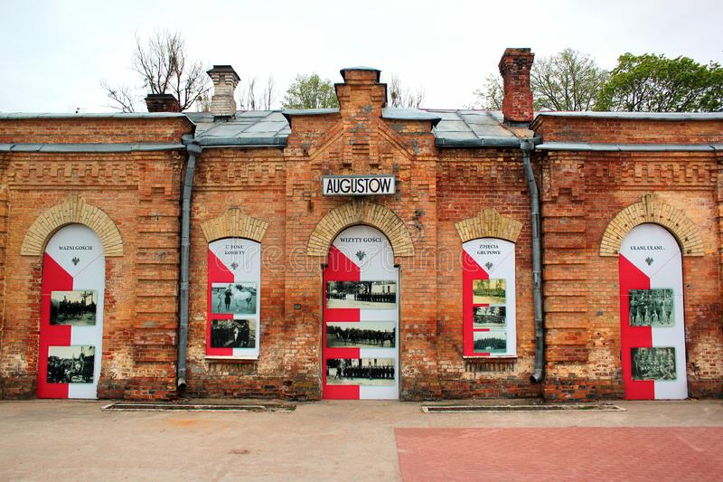 Historical building of railway station in Augustow, Poland. Augustow, Poland - May 2, 2019: Historical building of railway station in Augustow, a popular resort royalty free stock images