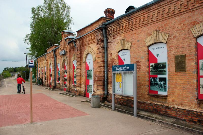Historical building of railway station in Augustow, Poland. Augustow, Poland - May 2, 2019: Historical building of railway station in Augustow, a popular resort stock image