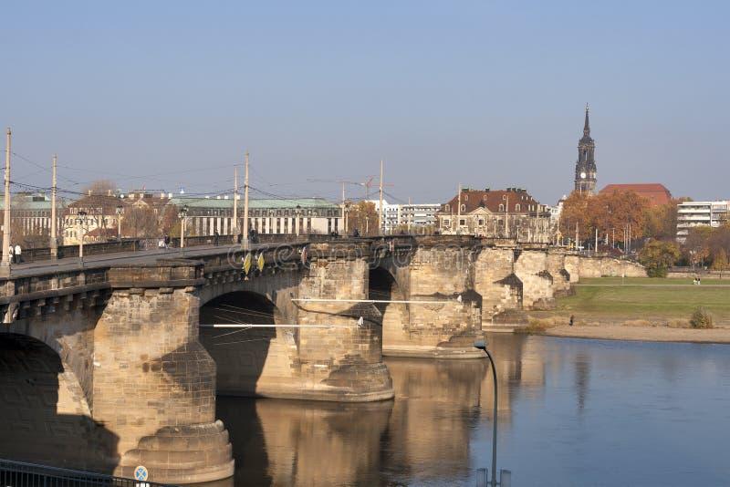 Augustus Bridge in Dresden royalty free stock photo