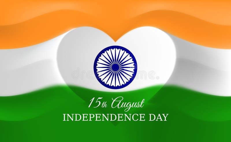 15 augustus, de onafhankelijkheidsdag van India, hart gevormd Indisch vlag vectormalplaatje Achtergrond met vliegende vlag Indisc stock illustratie