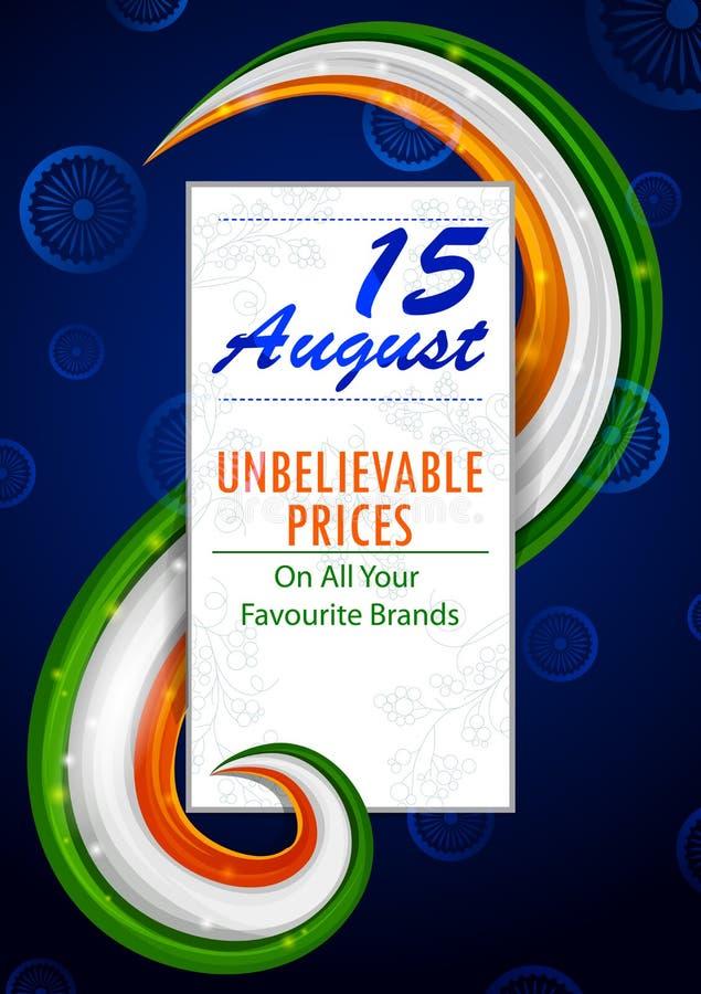 15 Augustus, Gelukkige Onafhankelijkheidsdag van het winkelen van India verkoop en de achtergrond van de bevorderingsreclame vector illustratie