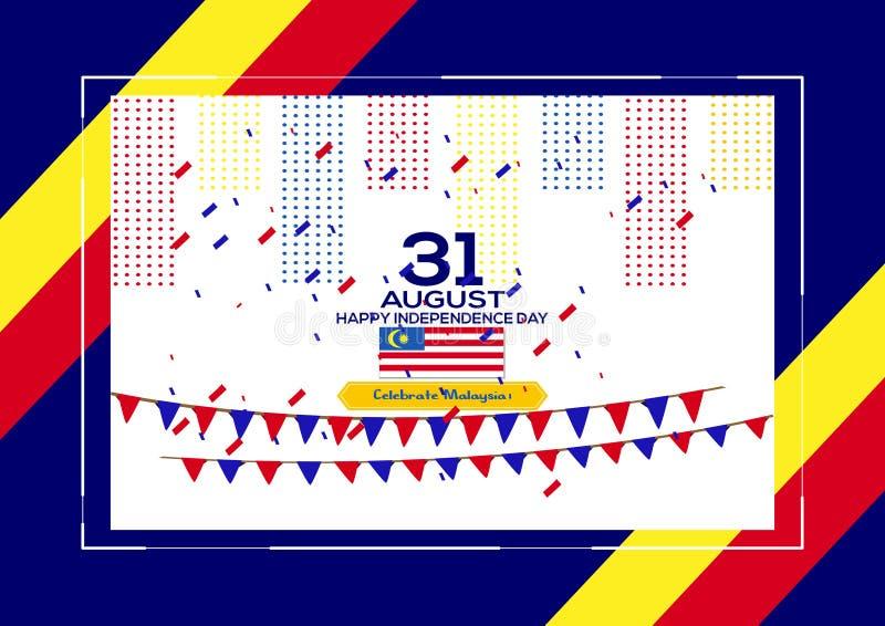 31 Augustus - het Vector van de de Onafhankelijkheidsdag van illustratiemaleisië Patriottische Ontwerp Gelukkige Vector de Groetk stock illustratie