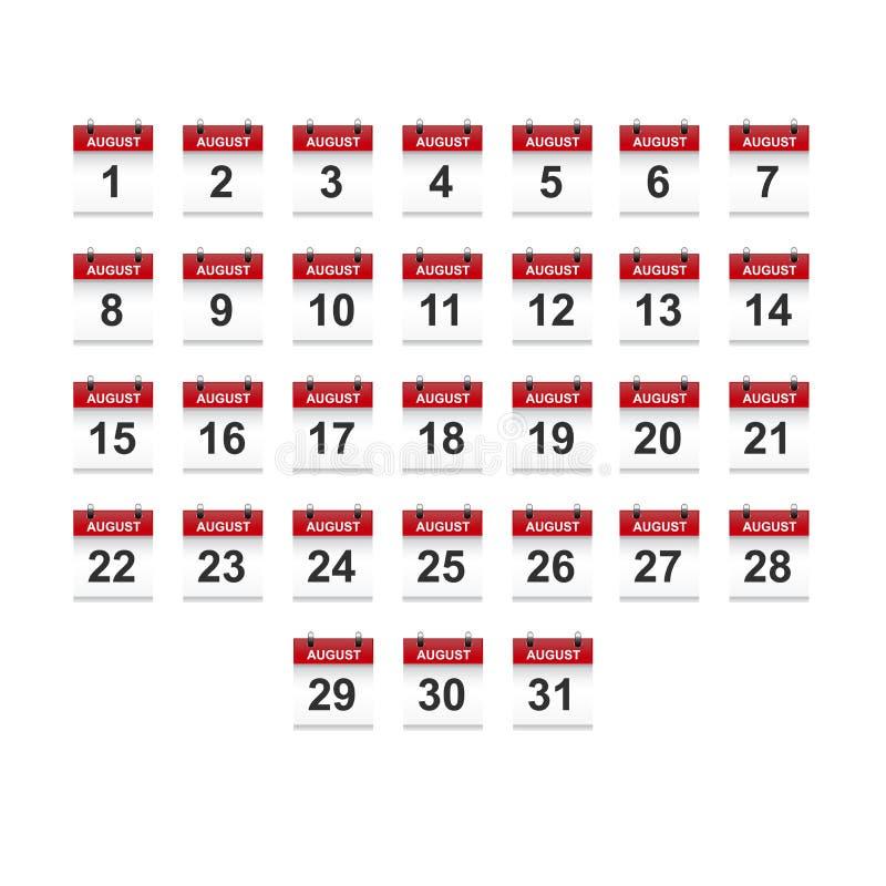 Augustus-het vectorart. van de kalender 1-31 illustratie royalty-vrije stock afbeelding