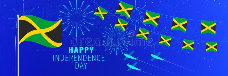 6augustus Jamaïca-de groetkaart van de Onafhankelijkheidsdag Vieringsachtergrond met vuurwerk, vlaggen, vlaggestok en tekst royalty-vrije illustratie