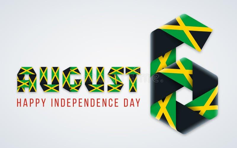 6 augustus, Jamaïca-het felicitatieontwerp van de Onafhankelijkheidsdag met Jamaicaanse vlagkleuren Vector illustratie royalty-vrije illustratie