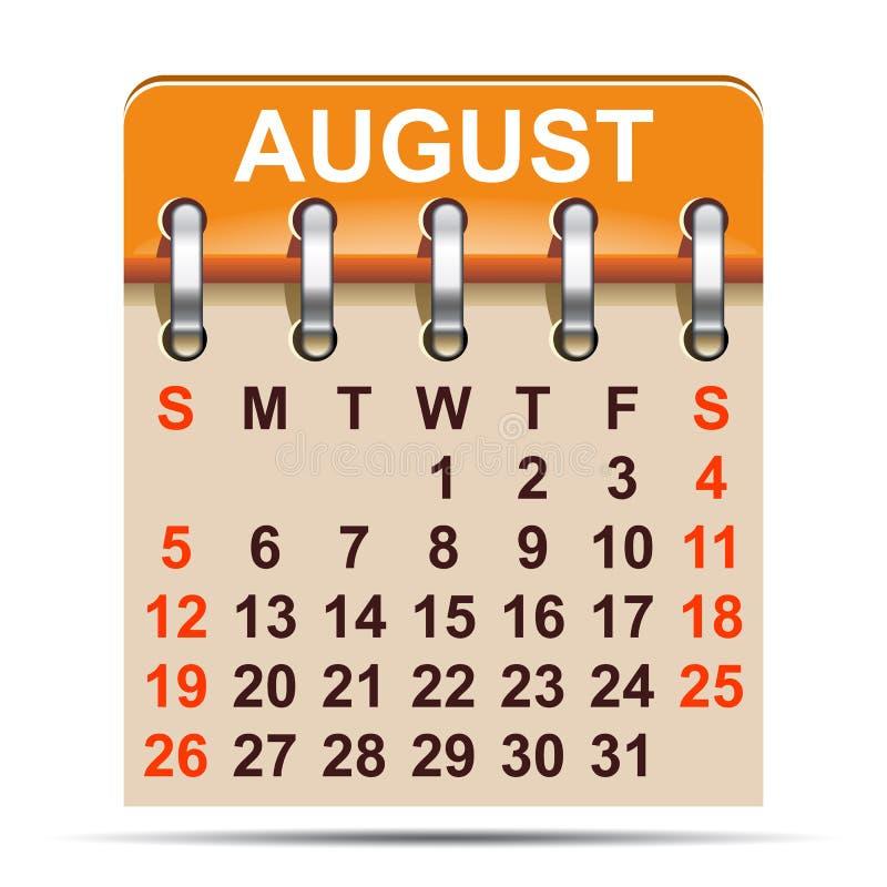 Augustus-kalender van het jaar van 2018 - stock illustratie