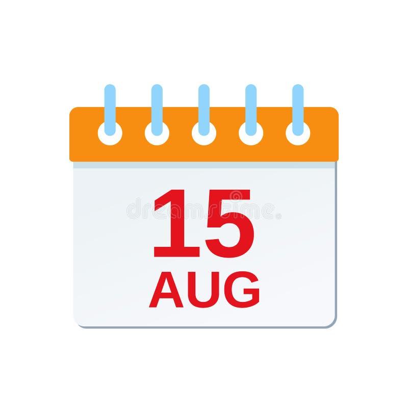15 Augustus-kalenderpictogram Nationale dag INDIA Vector illustratie royalty-vrije illustratie
